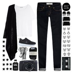 """""""• You wrote a song about her, but I thought it was about how you were so happy to know her •"""" by chloe-is-batman ❤ liked on Polyvore featuring Acne Studios, NIKE, Cassia, CASSETTE, Abercrombie & Fitch and T3"""