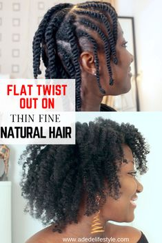 hair inspiration thin Flat twist out on thin fine natural hair. Flat Twist Out, Natural Hair Flat Twist, Protective Styles For Natural Hair Short, Fine Natural Hair, Natural Hair Styles For Black Women, Be Natural, Twist Outs, Natural Dreads, Rope Twist