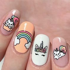 Want some ideas for wedding nail polish designs? This article is a collection of our favorite nail polish designs for your special day. Read for inspiration Flower Nail Designs, Short Nail Designs, Nail Polish Designs, Nail Art Designs, Nail Designs For Kids, Diy Ongles, Unicorn Nails Designs, Gel Nagel Design, Nails For Kids