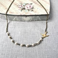 Vintage Style Petite Bird Pearl Necklace