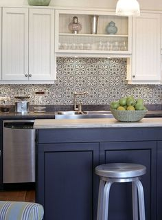 The Holland Pattern is truly a unique tile that looks stunning as a kitchen backsplash or on a bathroom floor. Navy blue is on the rise in the interior design world and this patterned tile will certainly make any renovation.
