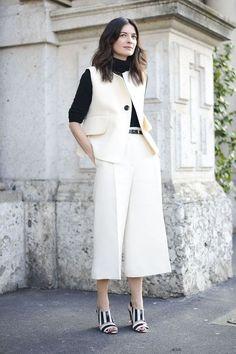 Black Turtleneck + White Culottes + Matching White Vest + Black-and-White Heels