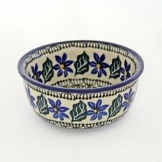 This would make a great start to a collection. The pattern is one of the most affordable and still very active! Handmade Ceramic Blue Flower and Green Small Bowl - Gifts by Kasia