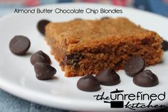 Almond Butter Chocolate Chip Blondies | The Unrefined Kitchen | Paleo & Primal Recipes