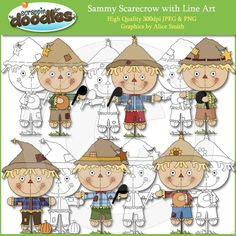 Sammy Scarecrow Clip Art with Line Art