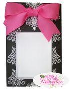 Damask Notepad with Hot Pink Ribbon
