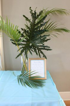Large palm frond arrangement for wedding. Wedding Table, Wedding Reception, Wedding Ideas, Palm Fronds, Sister Wedding, Grad Parties, Host A Party, Palms, Tuna