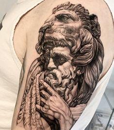 "Chris Liu on Instagram: ""Rare shot of Hercules thinking 🤔💡💡 * * * * * * * #herculestattoo #liontattoo #greekgodtattoo #greekmyth #tattoorealistic #torontotattoo…"" Hercules Tattoo, Greek God Tattoo, Lion Tattoo, Sleeve Tattoos, Portrait, Instagram, Ideas, Simple Lion Tattoo, Tattoo Sleeves"