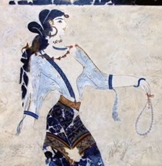 Ancient Minoan art, 1600 B. - Akroteri Fresco - Note the beaded jewelry! Not only adorning her, but also the necklace she holds in her hand (Hmm, Minoan frescoes. etsy for the ancients? Ancient, Metropolitan Museum Of Art, Culture Art, Art, Ancient Art, Ancient Cultures, Ancient Greek Art, Art History