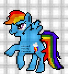 Minecraft Pixel Art Templates: Rainbow dash Pony