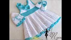 vestido da menina crochet - YouTube