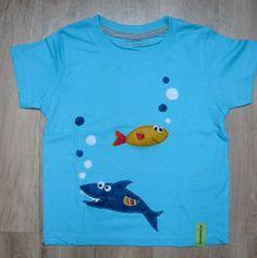 Camiseta personalizada a mano con telas y fieltro. Mar, Sea, Mer