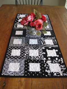 Black and White Table Runner - love this b/w, but make one for Connor using the animal print scraps from his quilt . . .