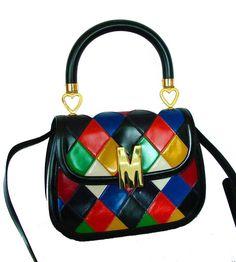 Vintage 1980s Moschino Redwall Harlequin Top Handle Bag + Shoulder Strap Italy #Moschino #ConvertibleHandbagShoulderBag
