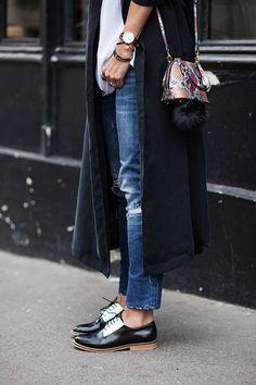 Moda Jonak Amyrrhe Polido Derbies Noires Femme Sortie