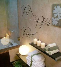 Fancy - Relax Refresh Renew Wall Decals Wall Words Vinyl Sticker Bath Words Bathroom Bath Home Decor Vinyl Art Wall Decor Nursery Room Decor KG619
