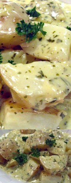 Baby Potatoes with Creamy Garlic Sauce