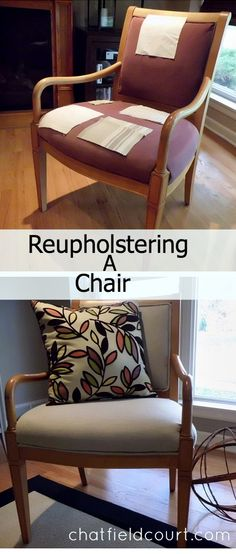 Reupholstering a chair.