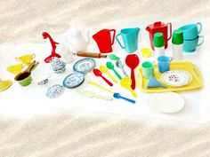 Childrens Dishes Lot Plastic Beach Toys Sandbox Dishes Instant Collection Colorful Plastic Bright Colors Pool Toys Make Believe Kitchen Set by CollectionSelection on Etsy, SOLD