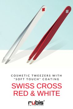 """High-quality cosmetic tweezers with slanted tips and a """"soft touch"""" color coating - Rubis Switzerland"""