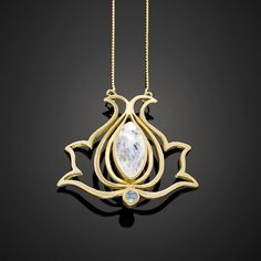 A personal favorite from my Etsy shop https://www.etsy.com/il-en/listing/210803203/gold-plated-moonstone-necklace-lotus