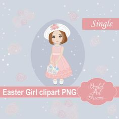 Easter Girl Clipart PNG, Dark Hair Girl in Communion Dress, Holiday Graphics, Illustration, Instant Download, Cute Character, Easter Basket