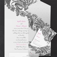 A lacy floral design is shown on this card. Discount Wedding Invitations, Pocket Wedding Invitations, Unique Invitations, Wedding Stationery, Black And White Wedding Invitations, Traditional Wedding Invitations, Pocket Invitation, Invitation Cards, Floral Design