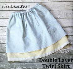The Cottage Home: Seersucker Double Layer Twirl Skirt Tutorial. Free pattern size 6 month through 10 years.