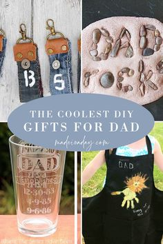 Looking for a fun DIY gift for Father's day? These easy to make gifts for dad are one of a kind and super cool! Try one or more for a fun homemade gift for dad. DIY fathers day gifts, gifts for dad, homemade gifts for men, engraved beer glasses, stamped fishing lure, dad rocks, denim key fobs Homemade Fathers Day Gifts, Diy Gifts For Dad, Diy Gifts For Friends, Easy Diy Gifts, Fathers Day Crafts, Guy Gifts, Handmade Gifts, Diy Father's Day Crafts, Father's Day Diy
