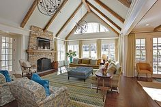 Laminate, Crown molding, Exposed Beams, Cottage, Craftsman, French, Chandelier, Arched