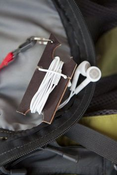 Upcycled leather earbud headphone organizer keychain. #gift #man #tech