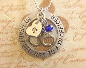 My Heart Belongs To A Police Officer Hand Stamped Pendant Necklace