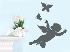 Kleiner Engel Mit 2 Schmetterlingen Als Walltattoo Fr Ihr Heim