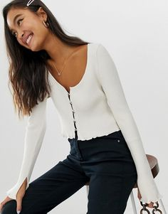 Shop ASOS DESIGN button front cardigan with scoop neck at ASOS. c866c1909