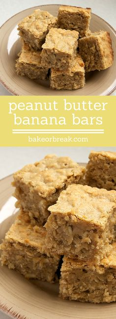 Peanut Butter Banana Bars is part of Desserts Peanut Butter Banana Bars are soft, chewy, moist bars packed with big flavor Love this flavor combination! Köstliche Desserts, Delicious Desserts, Yummy Food, Health Desserts, Peanut Butter Recipes, Peanut Butter Banana, Banana Bars, Banana Bread, Oat Bars