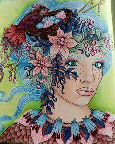 "143 Me gusta, 10 comentarios - Linda, Nora Sweden (@coloringbylinda) en Instagram: ""Having some progress doing faces but not happy with the hair. 😜 #hannakarlzon #tidevarv #seasons…"""