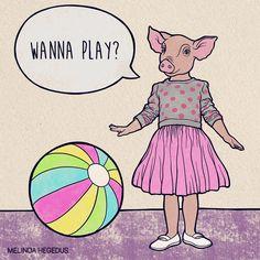 """Vegan Art by Melinda (@memememelinda) on Instagram: """"""""Pigs are playful, friendly, sensitive, and intelligent animals…"""" #govegan Vegan Humor, Going Vegan, Funny Jokes, Peanuts Comics, Disney Characters, Fictional Characters, Disney Princess, Pigs, Animals"""