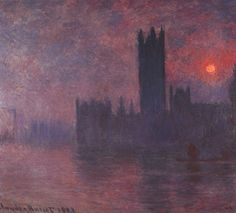 HOUSES OF THE PARLIAMENT AT SUNSET by CLAUDE MONET