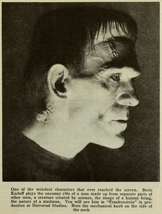 Boris The Monster makes an unlikely appearance in the November 1931 issue of Photoplay , the leading movie fan magazine of its time, whe. The Beast, Classic Horror Movies, Horror Films, Frankenstein 1931, Frankenstein Makeup, Frankenstein's Monster, Monster Mash, Horror Pictures, Halloween Horror