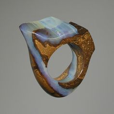Boulder opal ring by Sergio & Stefano Spivach Opal Jewelry, Resin Jewelry, Jewelry Art, Jewelry Rings, Jewelry Accessories, Jewelry Design, Fashion Jewelry, Unusual Jewelry, Unique Rings