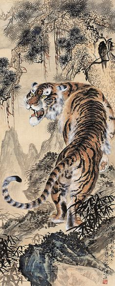 Painted by Cai Heting (蔡鶴汀, Tiger Painting Tiger Drawing, Tiger Painting, Japanese Tiger Tattoo, Chinese Tiger, Asian Tigers, China Art, Chinese Painting, Art And Architecture, Ancient Architecture
