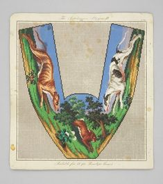 Berlin woodwork pattern for slippers, coursing hounds chasing a hare or rabbit