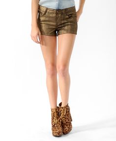 #MIXEDMETALS Metallic Coated Denim Shorts