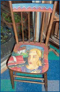 chair painted by Delores Orridge Naskrent - deloresart.ca