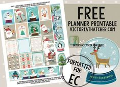 Free Printable Santa and Snow Globe Planner Stickers from Victoria Thatcher #scrapbookprintables