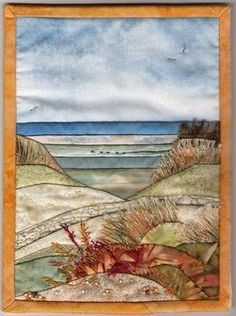 Mini Quilt by Sandra Goldsbrough, Lincolnshire - Interpretation of a watercolour painting by Louth artist Tom Brooker.