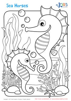 Sea Horses Printable: Printable Coloring Page for Kids Horse Coloring Pages, Cute Coloring Pages, Free Printable Coloring Pages, Free Coloring, Adult Coloring Pages, Coloring Pages For Kids, Coloring Books, Kindergarten Coloring Pages, Preschool Kindergarten