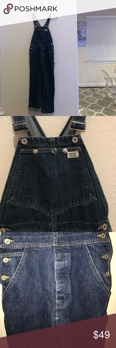 Guess factory distressed dark rinse overalls Factory distressed Guess overalls! 100% cotton! Dark rinse , no damage only worn a few times . These can either be worn rolled cuffs or factory distressed unfinished pant legs Guess Jeans Overalls