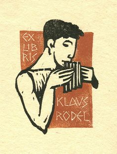 ≡ Bookplate Estate ≡ vintage ex libris labels︱artful book plates - Kobi Baumgartner, 1980.