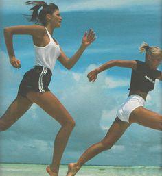 """Olympique"", ELLE France, July 1984 Photographer: Gilles Bensimon Models: Elle MacPherson and Marie Christine Debourse"
